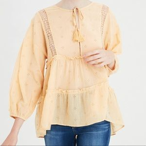 AE Yellow Allover Eyelet Tiered Top. Size XS. NWOT
